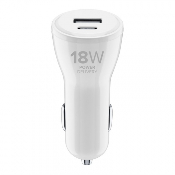 Adaptér do auta CellularLine USB, USB-C PD, 30W bílý
