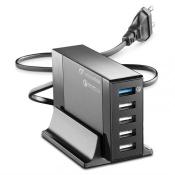 Nabíječka do sítě CellularLine Energy Station QC 3.0, 5 x USB, max 50W černá