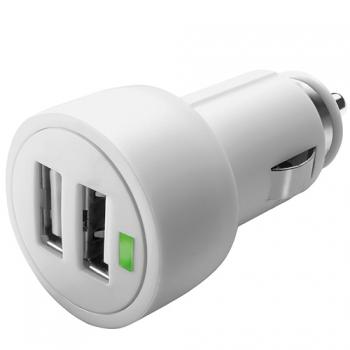 Adaptér do auta CellularLine 2 x USB, 15W/3A bílý