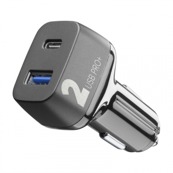 Adaptér do auta CellularLine Car Multipower 2 PRO+, Smartphone Detect, USB, USB-C PD, QC 3.0, 36W černý