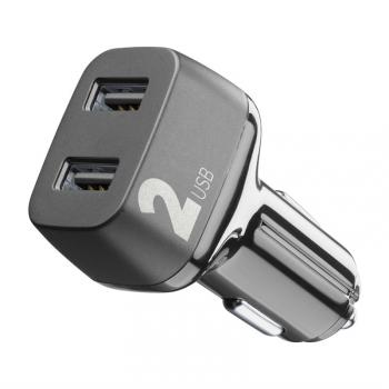 Adaptér do auta CellularLine Car Multipower 2, Smartphone Detect, 2 x USB, 24W černý