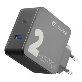 Nabíječka do sítě CellularLine Multipower 2 PRO+, Smartphone Detect, USB-C PD, USB, QC 3.0, 36W černá