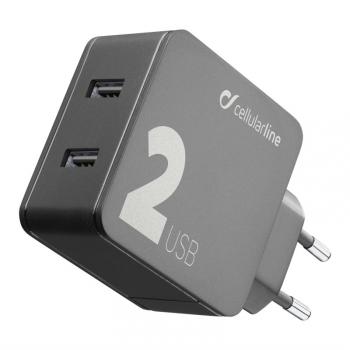 Nabíječka do sítě CellularLine Multipower 2, Smartphone detect, 2 x USB port, 24W černá