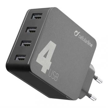 Nabíječka do sítě CellularLine Multipower 4, Smartphone Detect, 4 x USB port, 42W černá
