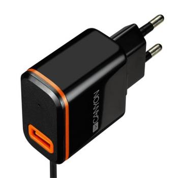 Nabíječka do sítě Canyon 1xUSB, USB-C kabel 1m černá
