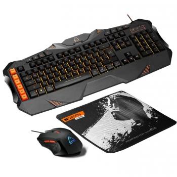 Klávesnice s myší Canyon Leonof s podložkou pod myš, US layout černá/oranžová