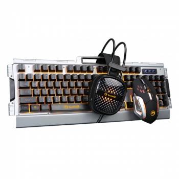Klávesnice s myší Marvo CM303 + headset, CZ/SK stříbrná