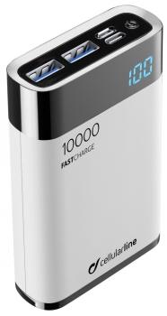Powerbank CellularLine FreePower Manta HD 10000mAh, USB-C PD, QC 3.0 bílá