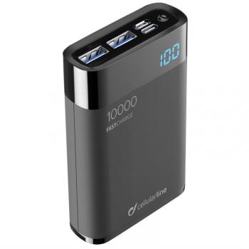 Powerbank CellularLine FreePower Manta HD 10000mAh, USB-C PD, QC 3.0 černá