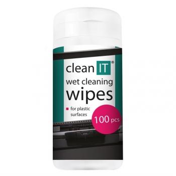 Čistící ubrousky Clean IT mokré na plasty, 100ks