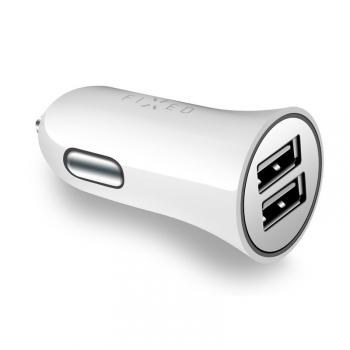 Adaptér do auta FIXED 2x USB, 24W bílý