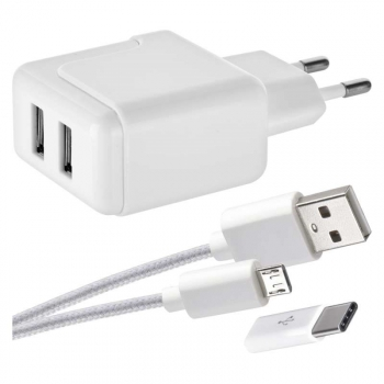 Nabíječka do sítě EMOS 1x USB, Micro USB kabel, USB-C redukce, 1m bílá