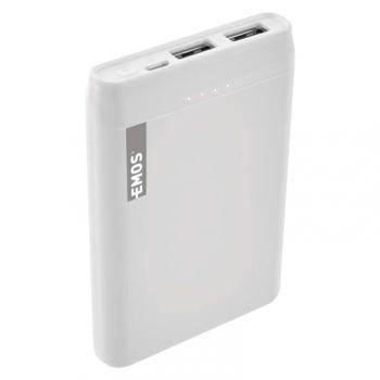 Powerbank EMOS Alpha 5, 5000 mAh, USB-C kabel bílá