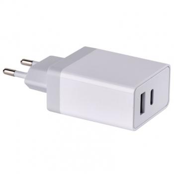 Nabíječka do sítě EMOS USB, USB-C PD, QC 3.0, 1,5–3,0A (30W) max. bílá