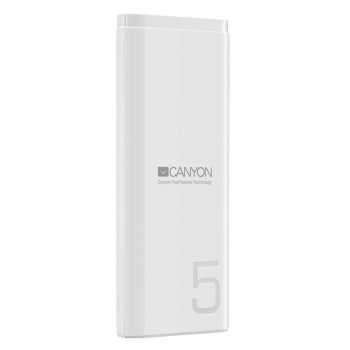 Powerbank Canyon 5000 mAh, USB-C bílá