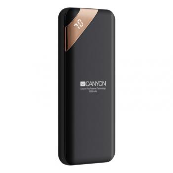 Powerbank Canyon 5000 mAh, USB-C, s digitálnim displejem černá