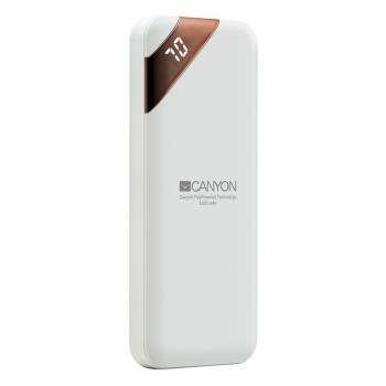 Powerbank Canyon 5000 mAh, USB-C, s digitálnim displejem bílá