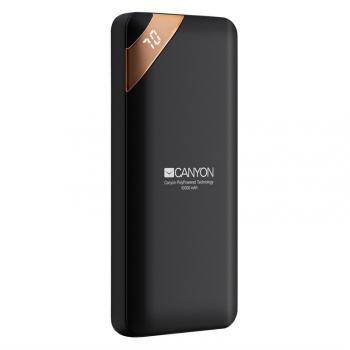 Powerbank Canyon 10000 mAh, USB-C, s digitálnim displejem černá