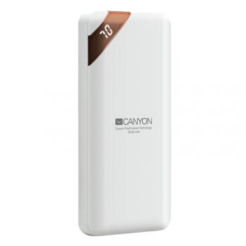 Powerbank Canyon 10000 mAh, USB-C, s digitálnim displejem bílá