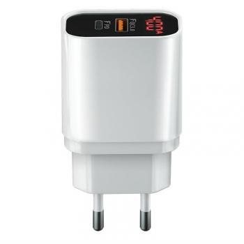 Nabíječka do sítě Forever Core 1x USB QC 3.0, 1x USB-C PD, 20W s digitálním displejem bílá