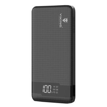 Powerbank Viking 20000 mAh, QC 3.0, USB-C, Lightning černá
