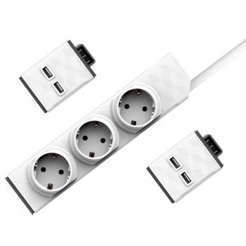 Kabel prodlužovací Powercube PowerStrip Modular Switch 1,5m + 2x USB modul bílý