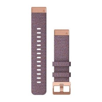 Řemínek Garmin QuickFit 20mm pro Fenix5S/6S, nylonový, fialový, zlatá přezka