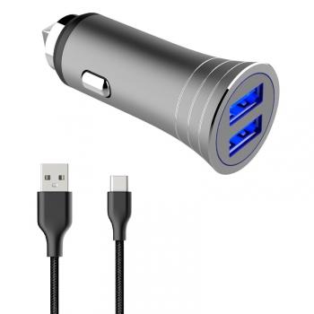 Adaptér do auta WG 2xUSB, 3.1A + USB-C kabel stříbrný