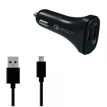 Adaptér do auta WG 2xUSB QC 3.0 (5.4A), 18W + USB-C kabel černý