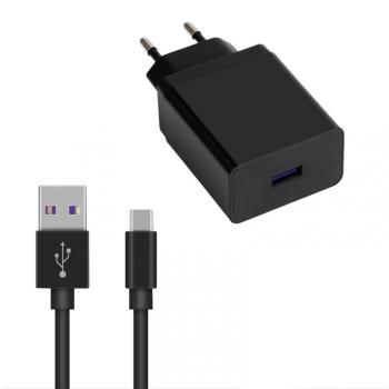 Nabíječka do sítě WG 1xUSB, QC 3.0, 22,5W + USB-C kabel černá