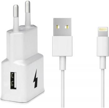 Nabíječka do sítě WG 1xUSB, QC 3.0 + Lightning kabel bílá