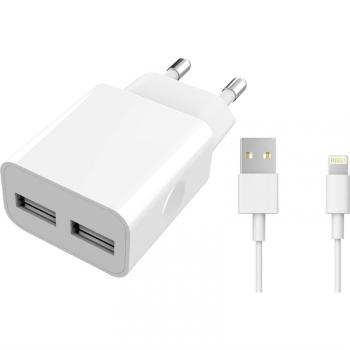 Nabíječka do sítě WG 2xUSB, 2,4A, MFi + Lightning kabel bílá