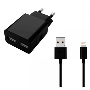 Nabíječka do sítě WG 2xUSB, 2,4A, MFi + Lightning kabel černá