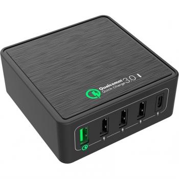 Nabíječka do sítě WG 5x USB, QC 3.0, USB-C, 40W černá