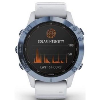 GPS hodinky Garmin fenix6 PRO Solar - Titanium Blue/White Band (MAP/Music)
