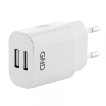 Nabíječka do sítě GND 2x USB, 2A bílá