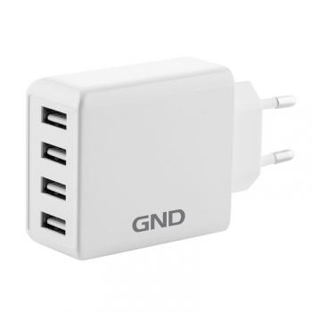 Nabíječka do sítě GND 4x USB, 6A bílá