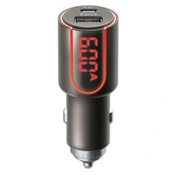 Adaptér do auta Forever Core, 1x USB QC 3.0, 1x USB-C PD 30W, s displejem černý