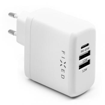 Nabíječka do sítě FIXED USB-C PD, 2x USB 2.0, 45W bílá