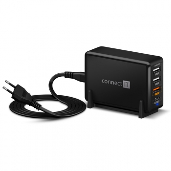 Nabíječka do sítě Connect IT 3xUSB, 1xUSB-C, QC, 65W PD černá