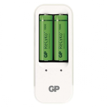 Nabíječka GP PB410 pro AA. AAA + 2x AA ReCyko+ (1300mAh) bílá