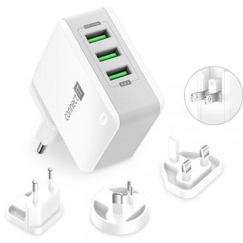 Nabíječka do sítě Connect IT Nomad2 WorldTravel, 3x USB, 24W bílá
