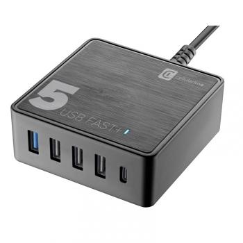 Nabíječka do sítě CellularLine Multipower 5 Fast+ , 4xUSB, 1xUSB-C, 60W černá