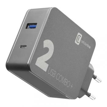 Nabíječka do sítě CellularLine Multipower 2 Combo Plus,1x USB 3.0, 1x USB-C, PD 48W + 1,6 m USB-C kabel černá