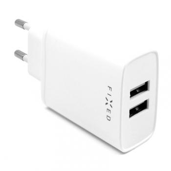 Nabíječka do sítě FIXED 2xUSB, 15W Smart Rapid Charge bílá
