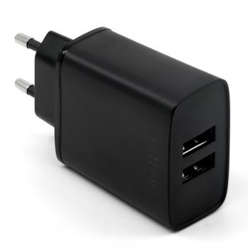 Nabíječka do sítě FIXED 2xUSB, 15W Smart Rapid Charge černá