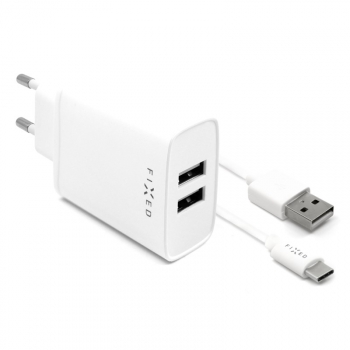 Nabíječka do sítě FIXED 2xUSB, 15W Smart Rapid Charge + USB-C kabel 1m bílá