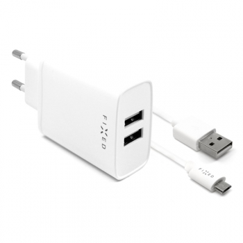Nabíječka do sítě FIXED 2xUSB, 15W Smart Rapid Charge + Micro USB kabel 1m bílá