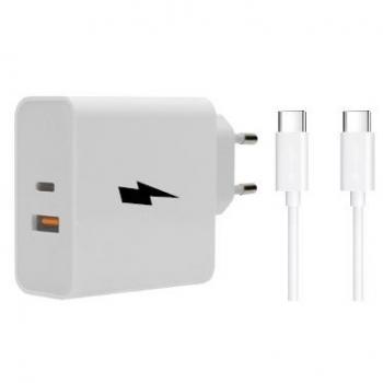 Nabíječka do sítě WG 1x USB, 1x USB-C, PD, QC 3.0, 63 W + USB-C kabel 1m bílá