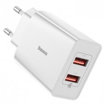 Nabíječka do sítě Baseus 2x USB, 18W bílá